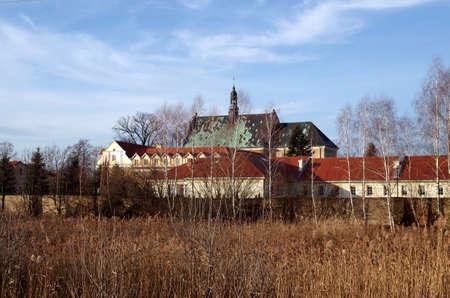 Baroque salesians monastery in Lutomiersk in lodzkie province Stock Photo