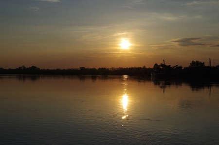 Sunset near vistula river in Poland