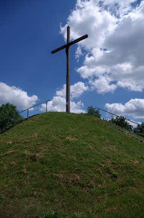 Cross on the hill  Chełmska góra  in Chełm near Lublin Stock Photo