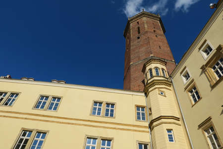 Gothic Castle in Legnica, Silesia. Gothic-style stone tower built several times rebuilt, now incorporates many styles of architecture, but the school is open to the public. There is a school inside, but the castle can be visited. Editorial