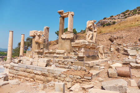The ancient city of Ephesus. Unusual ruins in Turkey near the famous Kusadasi resort Banco de Imagens