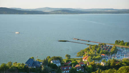 One of Europes largest lakes - Balaton. Popular tourist tours from many continental countries. Shallow fast warming lake. Stock Photo