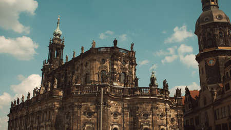 Royal catholic cathedral in Dresden - beautiful baroque building built next to the castle.