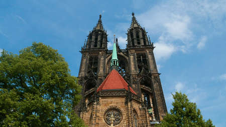 The Gothic cathedral of Meissen, built many years after the Middle Ages, is today a charismatic element of the old town. Two high towers attract many tourists. Editorial