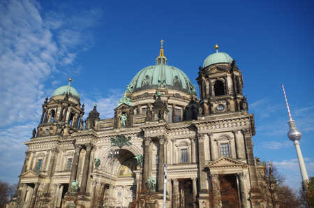 Berliner Dom - cathedral in Berlin. Rich decorations and decorative sculptures of the facade of one of the most famous churches in Germany, the historic cathedral standing on the Museum Island. Stok Fotoğraf