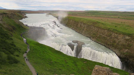The stunning Gulfoss waterfall in Iceland - water falling down from the soul