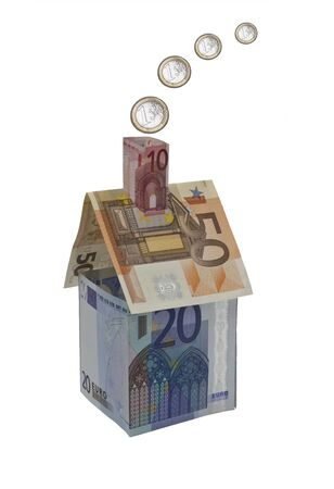 mortgaging: Symbolic house represented in Euros