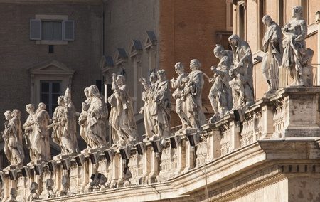 bernini: Bernini statues above the colonnade around St Peters Square, Rome, detail