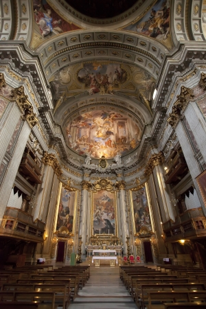 nave: Interior of Jesuit church, Rome, nave and altar