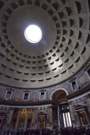 The Pantheon, Rome, interior showing dome and oculus, daytime