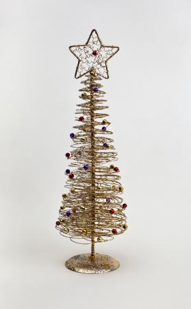 gold wire christmas tree decoration stock photo 15123369