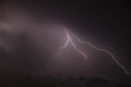 forked: Forked lightning during night time thunderstorm