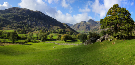 langdale pikes: The Langdale Pikes, Lake District, England, from Copt Howe, panorama Stock Photo
