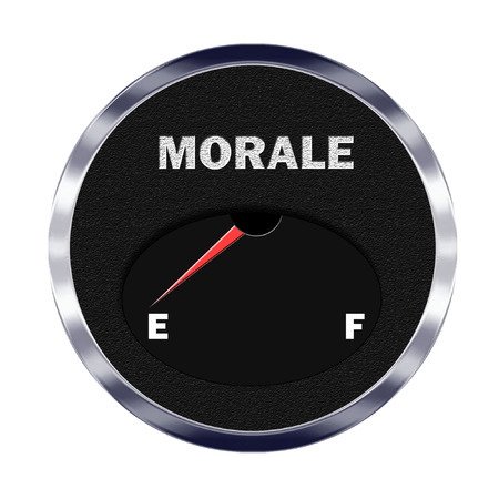 morale: Illustration of vehicle type instrument gauge showing morale level at empty