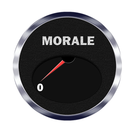 rating meter: Illustration of vehicle type instrument gauge showing morale level at zero