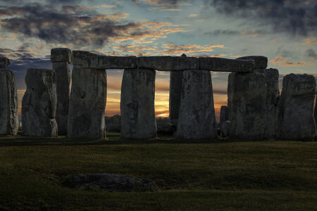 solstice: Close up of Stonehenge with winter solstice sunset (simulated), no people Stock Photo