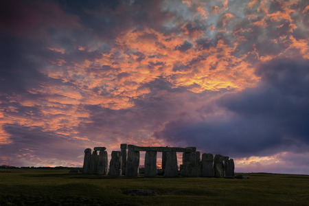 winter solstice: Stonehenge with winter solstice sunset (simulated), no people