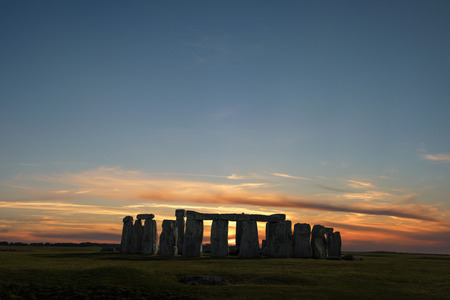 Stonehenge with winter solstice sunset (simulated), no people