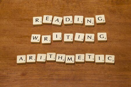 reading and writing: Game letter tiles spelling out reading writing arithmetic