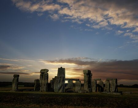 Stonehenge with summer solstice sunrise (simulated), no people