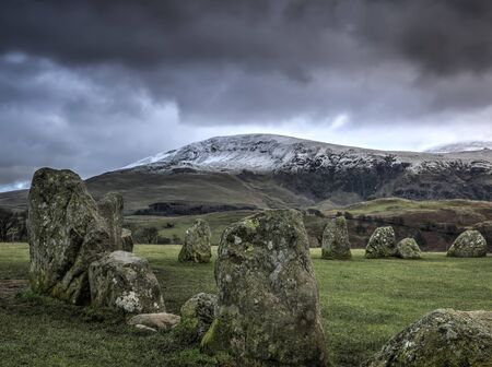 cumbria: Castlerigg stone circle near Keswick Cumbria in winter Stock Photo