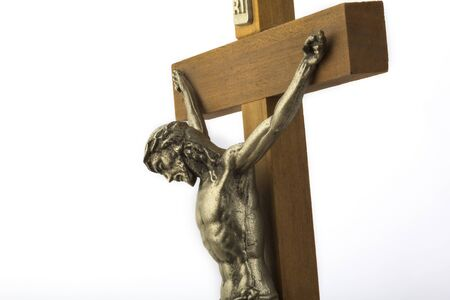 effigy: Wooden crucifix with effigy of Christ closeup horizontal format