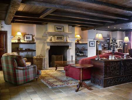 Cottage lounge interior with comfortable furnishings