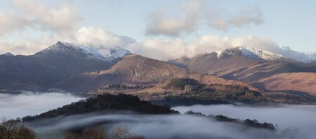 inversion: Grasmoor and Grisedale Pike with temperature inversion giving clouds in valley above Keswick