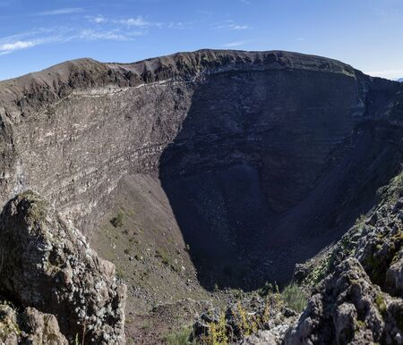 vulcanology: View inside the crater of Mount Vesuvius, sunny day