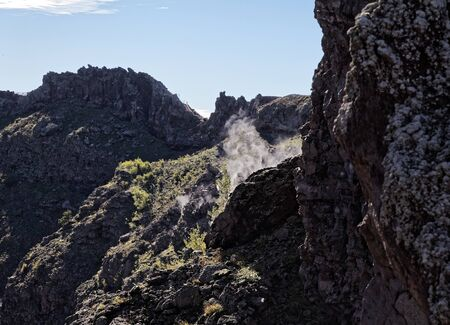 vulcanology: Steam escaping from vent in crater of Mount Vesuvius, Naples, Italy