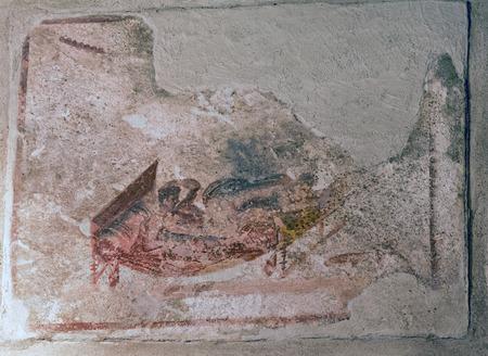 Erotic fresco in Pompeii brothel Stock Photo