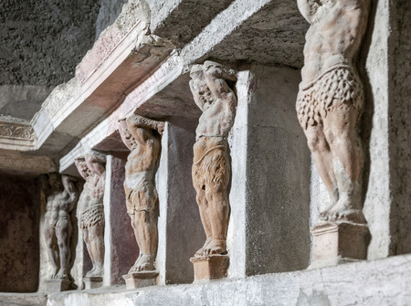 statuary: Statuary detail of bath house in Pompeii ruins