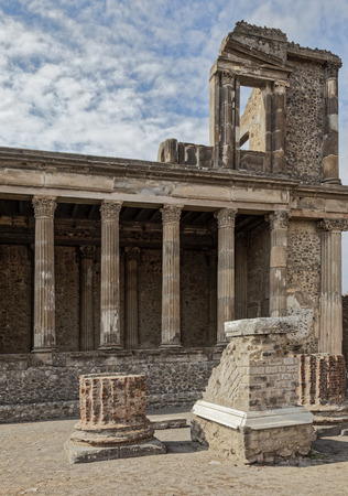 Law courts by the basilica in ruins of Pompeii