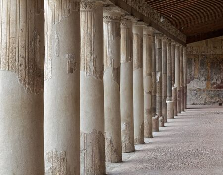 colonnaded: Colonnaded walkway at the Terme Stabiane Roman baths in Pompeii