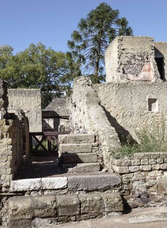 upper floor: Ruins of a house at Herculaneum showing stairs to upper floor Stock Photo