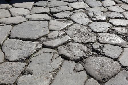 road surface: Close up of Roman road surface at Herculaneum Stock Photo