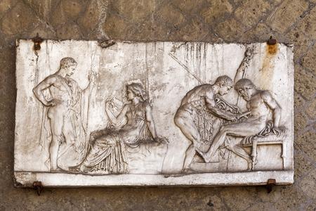 Relief sculpture of Achilles and Telephus at Herculaneum