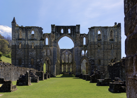 abbeys: Rievaulx Abbey, near Helmsley, North Yorkshire, from the ruins of the nave