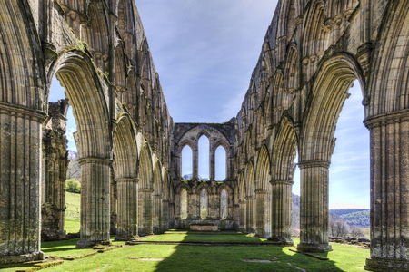north yorkshire: Rievaulx Abbey, near Helmsley, North Yorkshire, the sanctuary Stock Photo