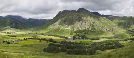langdale pikes: Panorama of Great Langdale from Side Pike
