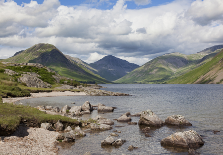 gable: Wastwater looking towards Great Gable with stones in water Stock Photo