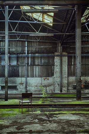 urban decay: Abandoned railroad workshop, urban exploration, hdr