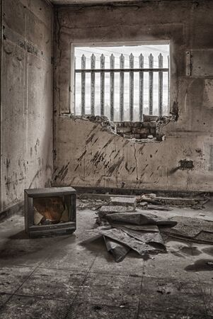 dilapidation: Abandoned office building, urban exploration, hdr Stock Photo