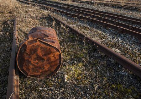 urban decay: Abandoned railroad tracks