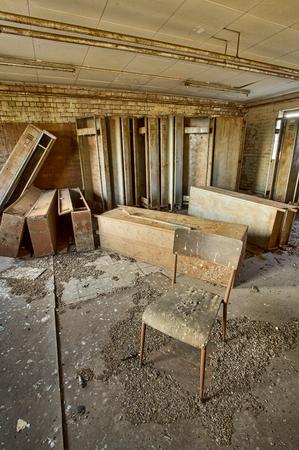 urban decay: Abandoned workshop locker room, urban exploration, hdr