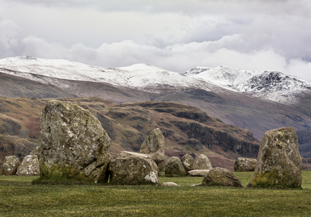 Keswick, Cumbria 근처 Castlerigg 돌 동그라미, 겨울에 스톡 콘텐츠