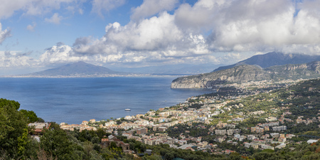 Sorrento and the bay of Naples looking towards Vesuvius on a sunny day