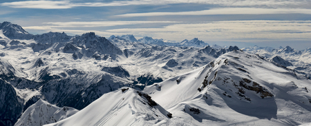 panorama from roche de mio above la plagne towards the mountains beyond val thorens
