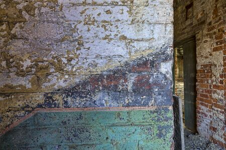 interior of derelict mill building wall detail