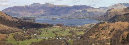 Panorama of Keswick Derwentwater and Skiddaw from Castle Crag in Borrowdale Imagens